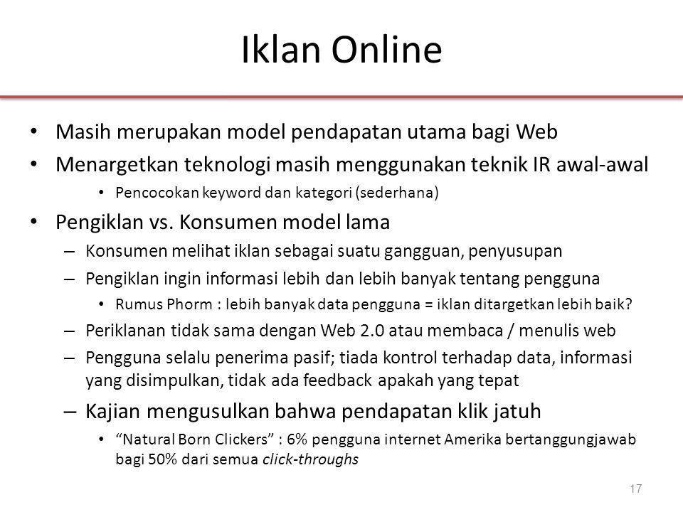 Iklan Online • Masih merupakan model pendapatan utama bagi Web • Menargetkan teknologi masih menggunakan teknik IR awal-awal • Pencocokan keyword dan kategori (sederhana) • Pengiklan vs.