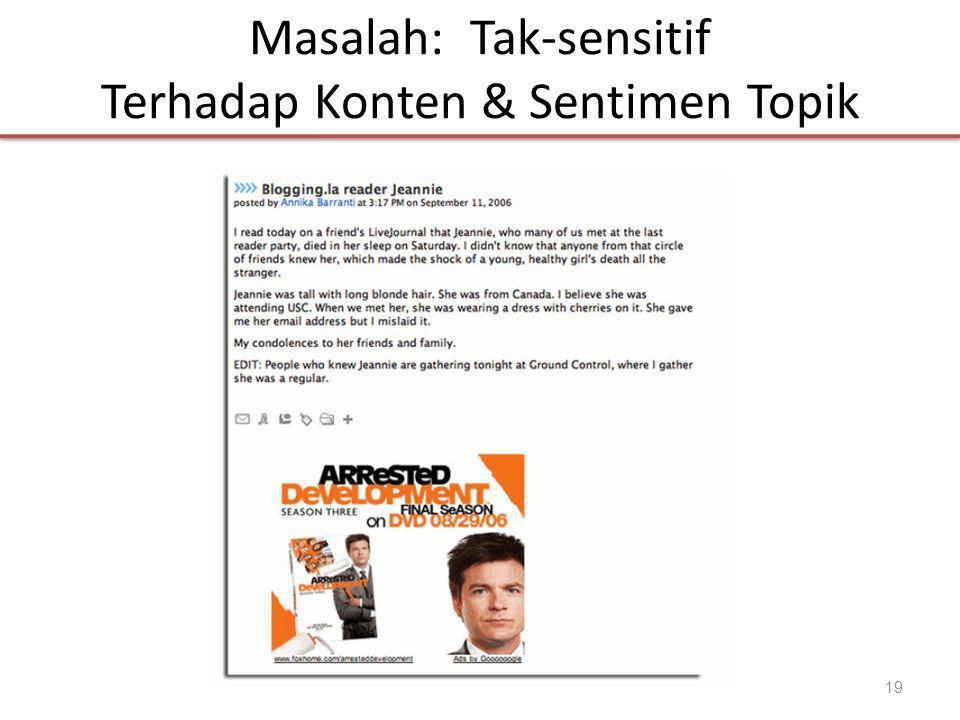 Masalah: Tak-sensitif Terhadap Konten & Sentimen Topik 19