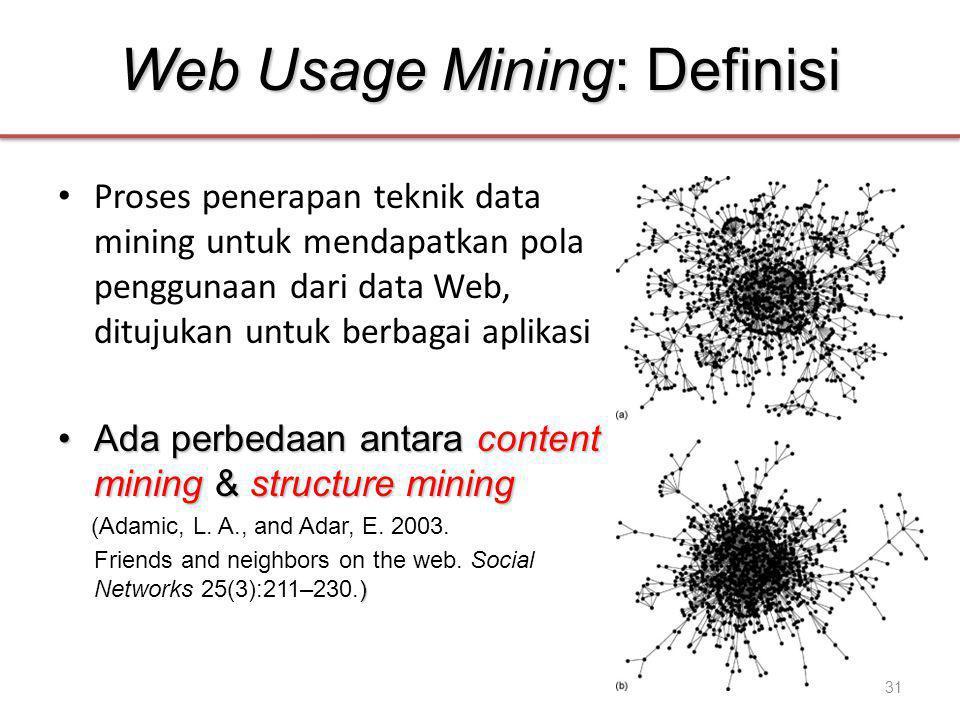 Web Usage Mining: Definisi • Proses penerapan teknik data mining untuk mendapatkan pola penggunaan dari data Web, ditujukan untuk berbagai aplikasi •Ada perbedaan antara content mining & structure mining (Adamic, L.