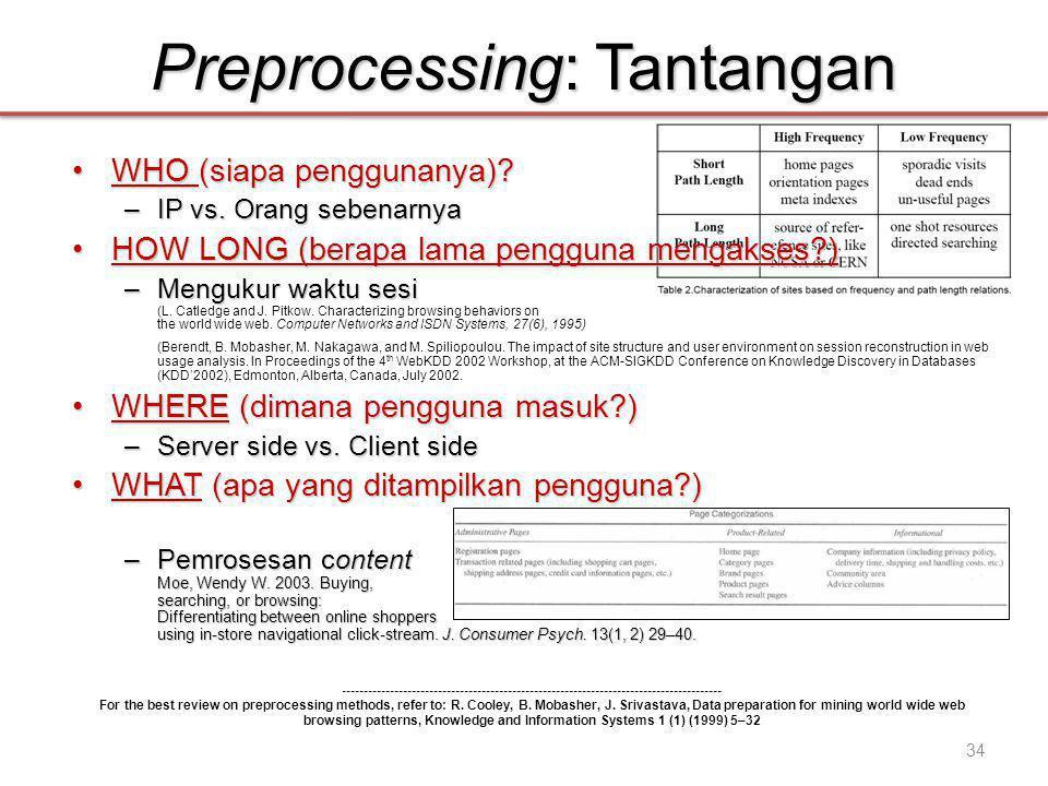 Preprocessing: Tantangan •WHO (siapa penggunanya).