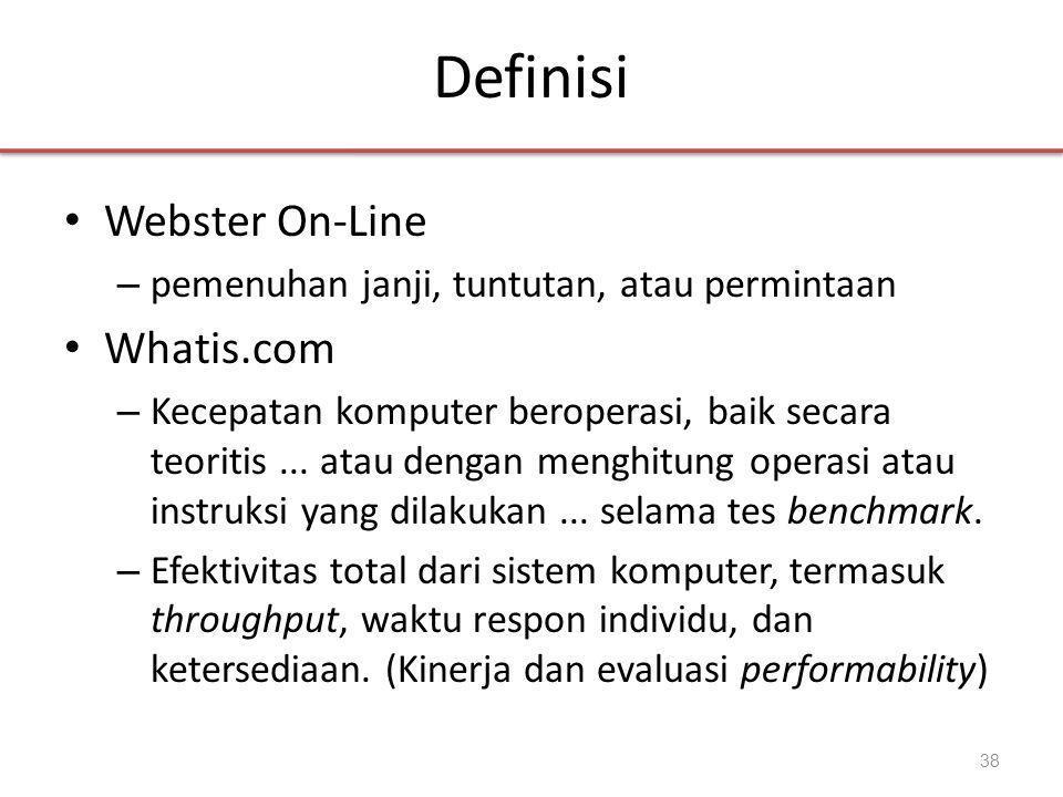 Definisi • Webster On-Line – pemenuhan janji, tuntutan, atau permintaan • Whatis.com – Kecepatan komputer beroperasi, baik secara teoritis...