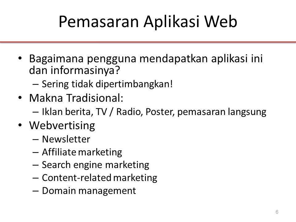 Pemasaran Aplikasi Web • Bagaimana pengguna mendapatkan aplikasi ini dan informasinya.