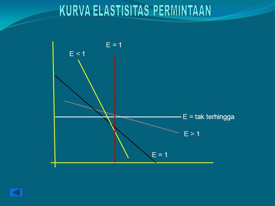 E > 1 E = 1 E = tak terhingga E < 1 E = 1