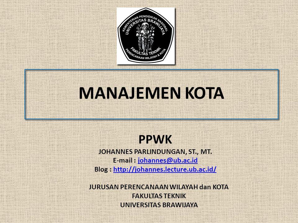 PPWK - JP PEMBAHASAN 2 BAGIAN 01 : PENDAHULUAN BAGIAN 02 : BARANG PUBLIK BAGIAN 03 : MANAJEMEN KOTA SEBAGAI BENTUK INTERVENSI PEMERINTAH