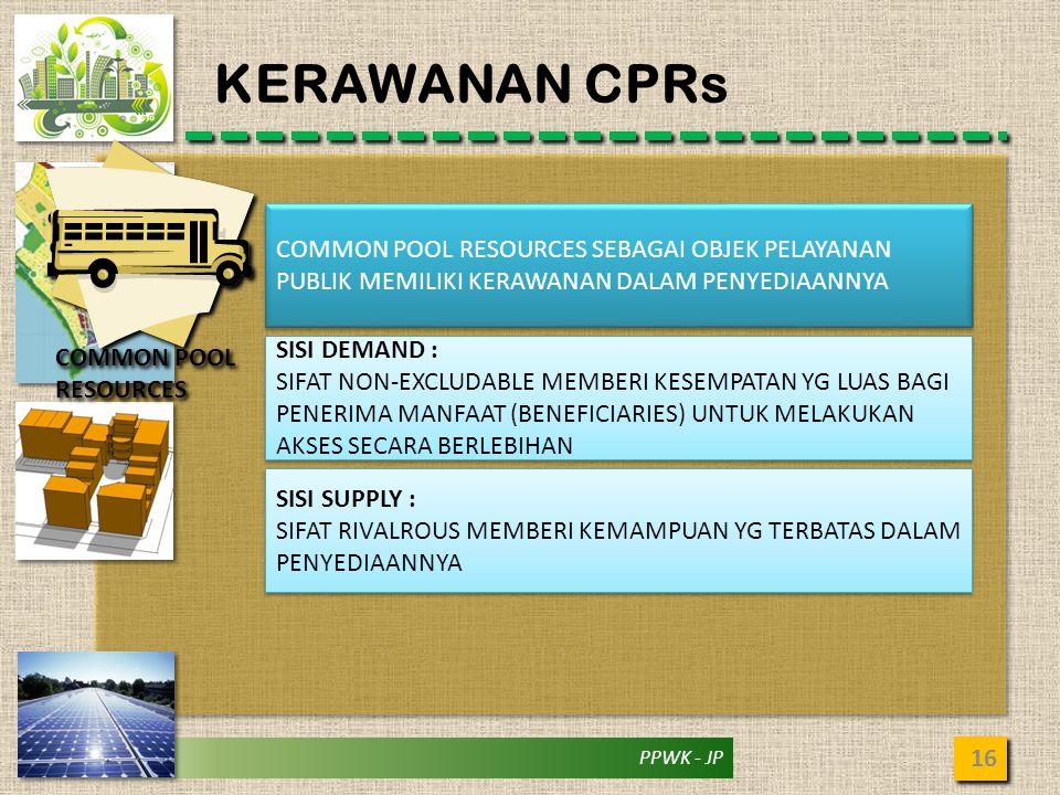 PPWK - JP KERAWANAN CPRs 16 COMMON POOL RESOURCES COMMON POOL RESOURCES SEBAGAI OBJEK PELAYANAN PUBLIK MEMILIKI KERAWANAN DALAM PENYEDIAANNYA SISI DEM