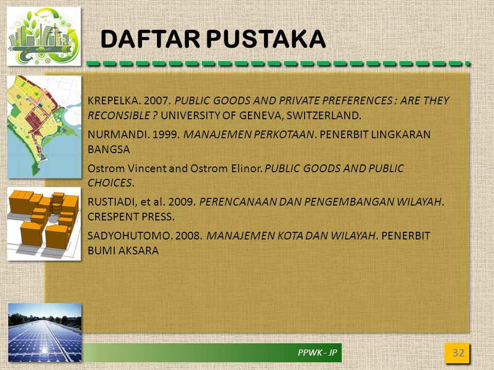 PPWK - JP DAFTAR PUSTAKA 32 KREPELKA. 2007. PUBLIC GOODS AND PRIVATE PREFERENCES : ARE THEY RECONSIBLE ? UNIVERSITY OF GENEVA, SWITZERLAND. NURMANDI.
