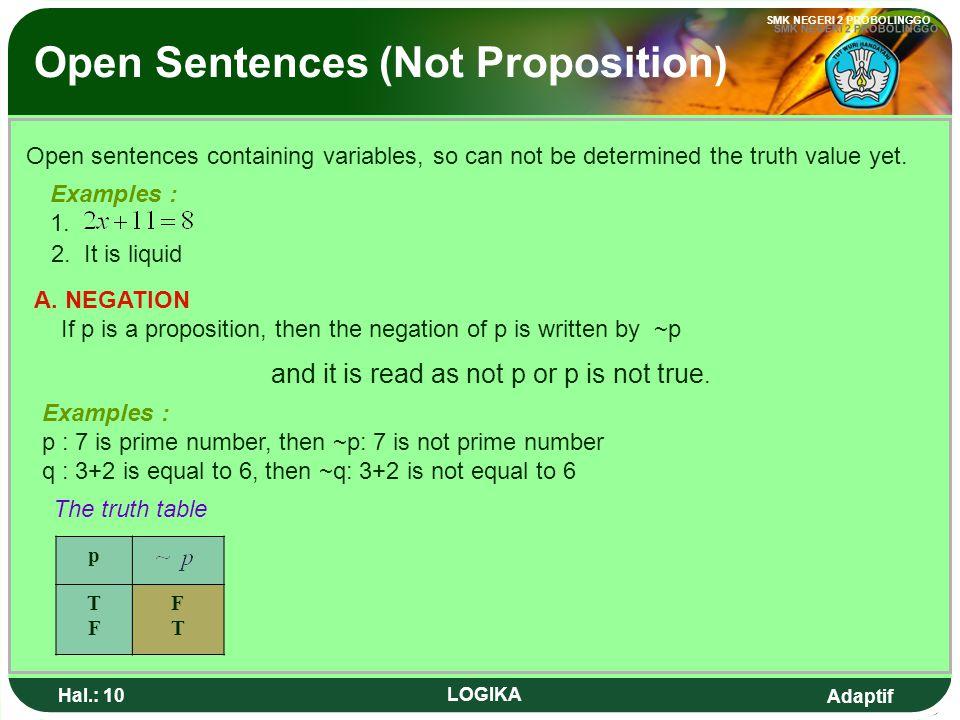 Adaptif SMK NEGERI 2 PROBOLINGGO Hal.: 9 LOGIKA B. KALIMAT TERBUKA Kalimat terbuka adalah yang memuat peubah/variable, sehingga belum dapat ditentukan