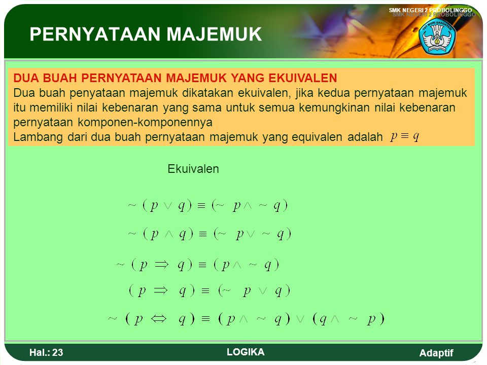 Adaptif SMK NEGERI 2 PROBOLINGGO Hal.: 22 LOGIKA p q(pvq)p => (pvq) TTFFTTFF TFTFTFTF TTTFTTTF TTTTTTTT Table So the proposition is Tautology Tautology is a compound proposition which always true for all possible valuation of proposition component Show that the compound proposition adalah sebuah tautologi Kontradiction Kontradiction is a compound proposition which always false for all possible valuation of proposition component Tautology Example :