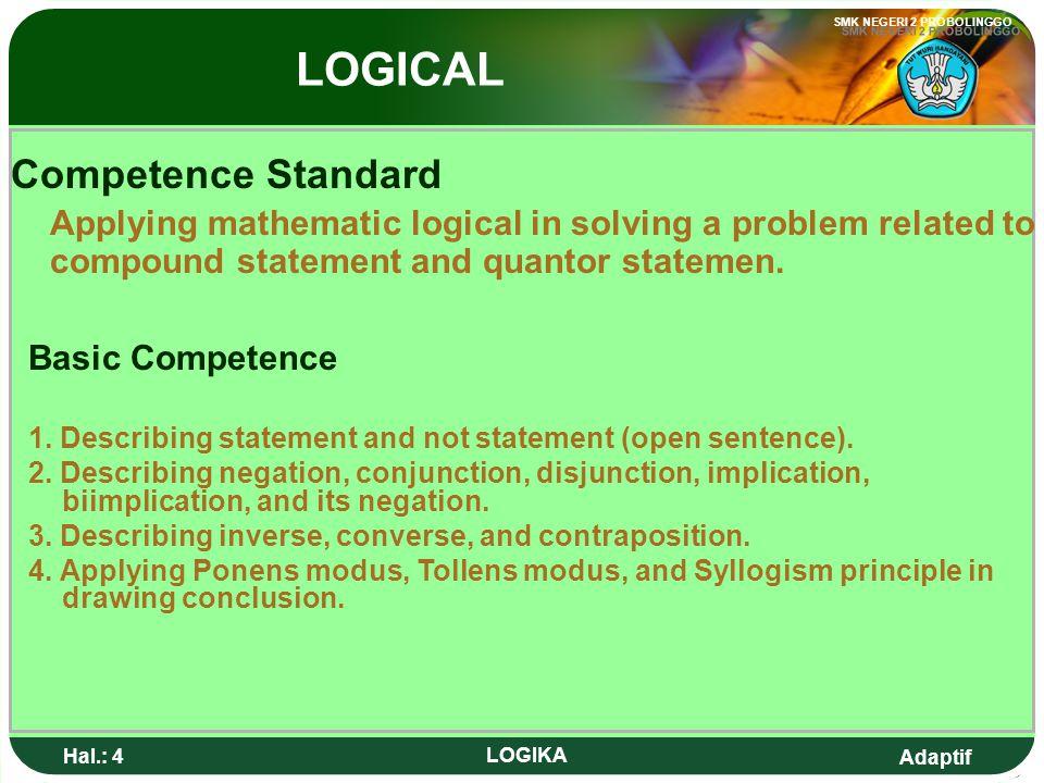 Adaptif SMK NEGERI 2 PROBOLINGGO Hal.: 3 LOGIKA Standar Kompetensi Menerapkan logika matematika dalam pemecahan masalah yang berkaitan dengan pernyata