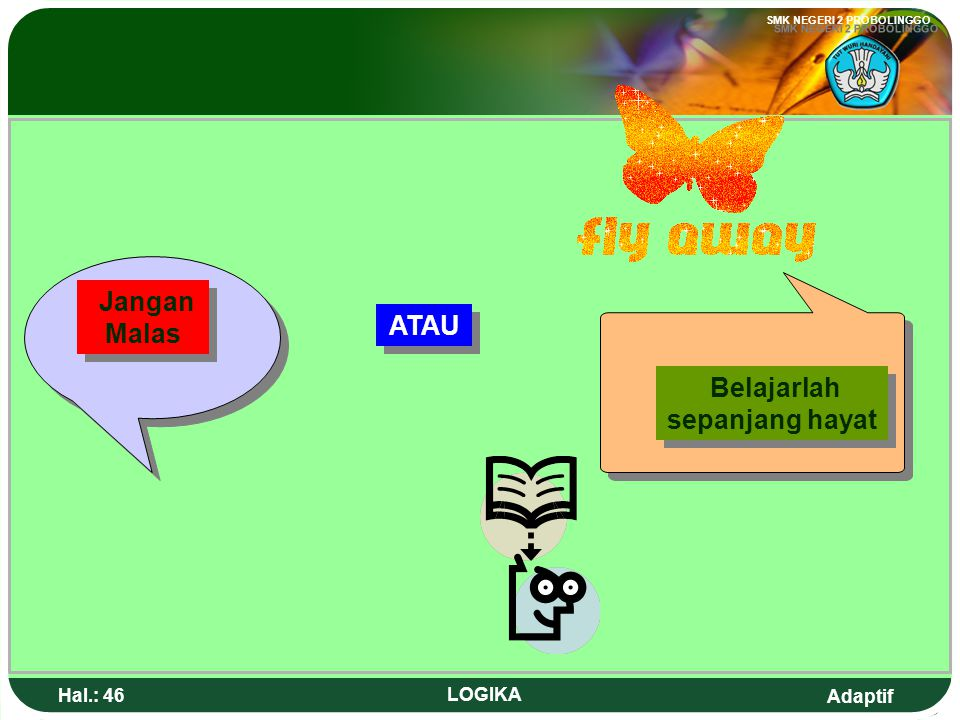 Adaptif SMK NEGERI 2 PROBOLINGGO Hal.: 45 LOGIKA STUDY IN THE WHOLE LIFE No Lazy student! Or