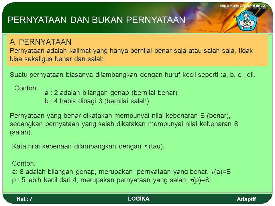 Adaptif SMK NEGERI 2 PROBOLINGGO Hal.: 7 LOGIKA A.
