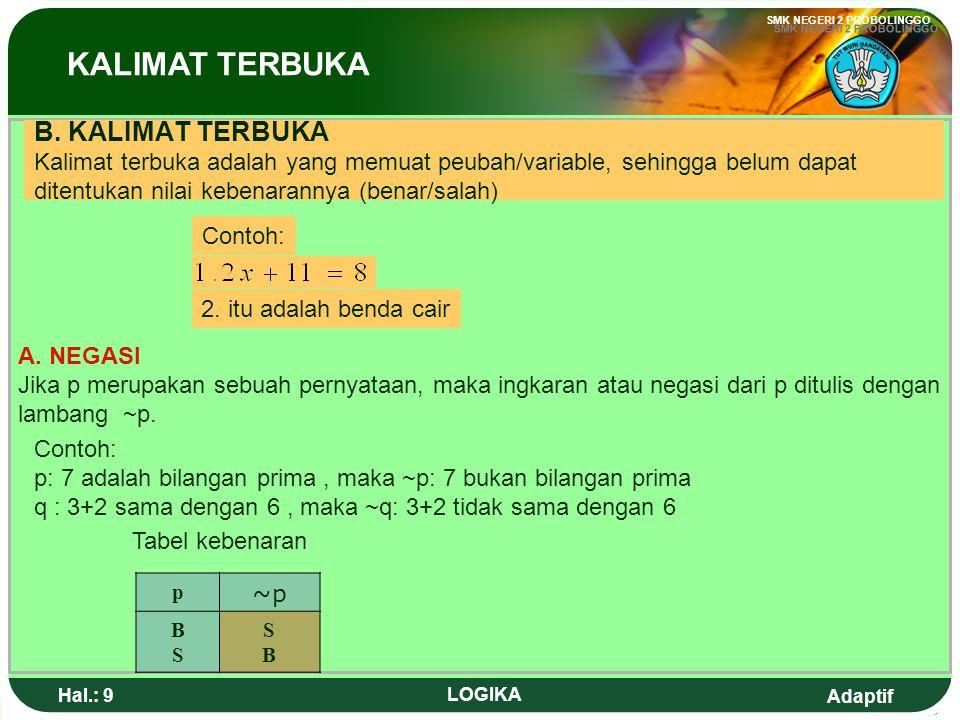 Adaptif SMK NEGERI 2 PROBOLINGGO Hal.: 8 LOGIKA Proposition is a sentence which can explain something true or false.
