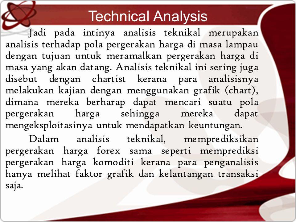 Technical Analysis Jadi pada intinya analisis teknikal merupakan analisis terhadap pola pergerakan harga di masa lampau dengan tujuan untuk meramalkan pergerakan harga di masa yang akan datang.