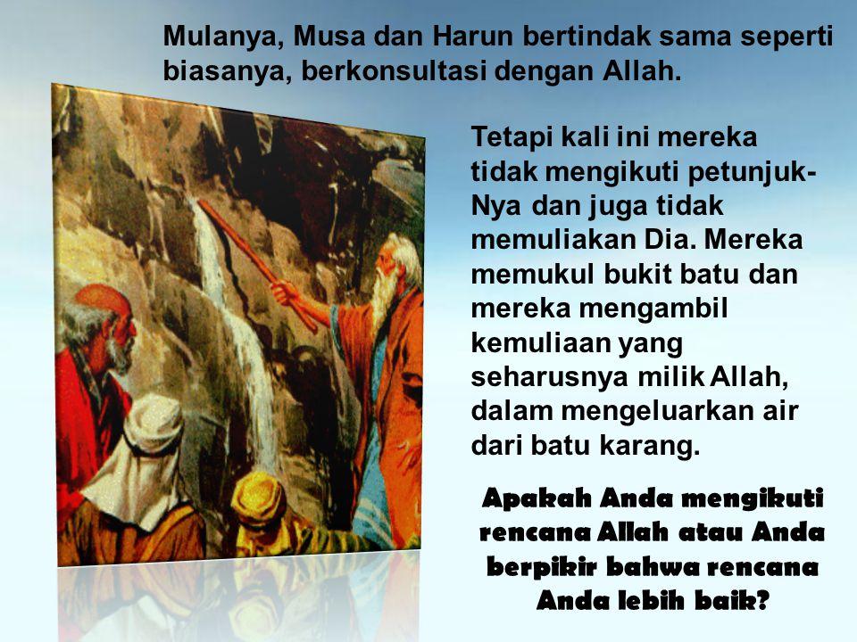 Mulanya, Musa dan Harun bertindak sama seperti biasanya, berkonsultasi dengan Allah. Tetapi kali ini mereka tidak mengikuti petunjuk- Nya dan juga tid