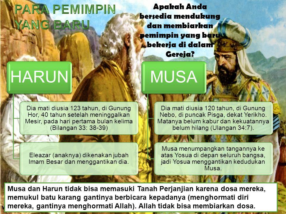 Musa dan Harun tidak bisa memasuki Tanah Perjanjian karena dosa mereka, memukul batu karang gantinya berbicara kepadanya (menghormati diri mereka, gan