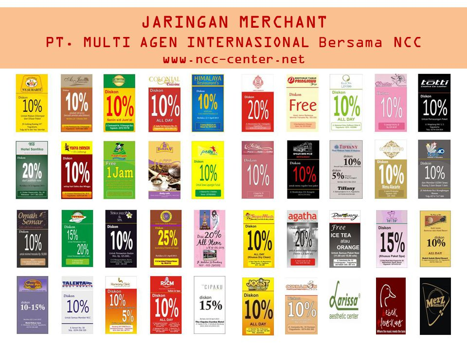 JARINGAN MERCHANT PT. MULTI AGEN INTERNASIONAL Bersama NCC www.ncc-center.net