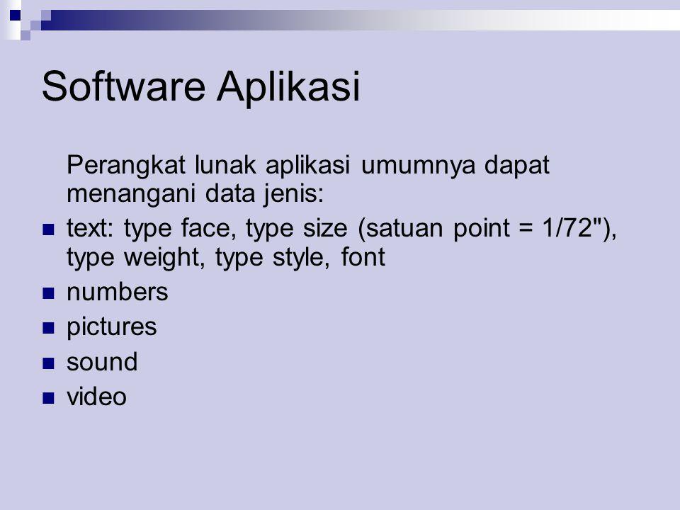 Software Aplikasi Perangkat lunak aplikasi umumnya dapat menangani data jenis:  text: type face, type size (satuan point = 1/72 ), type weight, type style, font  numbers  pictures  sound  video