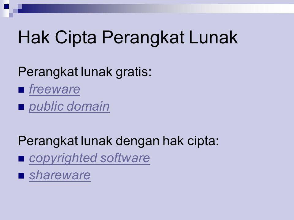 Hak Cipta Perangkat Lunak Perangkat lunak gratis:  freeware freeware  public domain public domain Perangkat lunak dengan hak cipta:  copyrighted software copyrighted software  shareware shareware