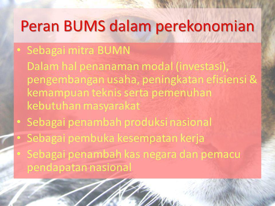 Peran BUMS dalam perekonomian • Sebagai mitra BUMN Dalam hal penanaman modal (investasi), pengembangan usaha, peningkatan efisiensi & kemampuan teknis