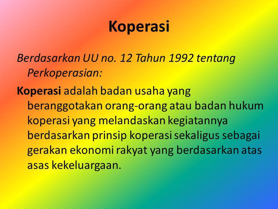 Koperasi Berdasarkan UU no. 12 Tahun 1992 tentang Perkoperasian: Koperasi adalah badan usaha yang beranggotakan orang-orang atau badan hukum koperasi