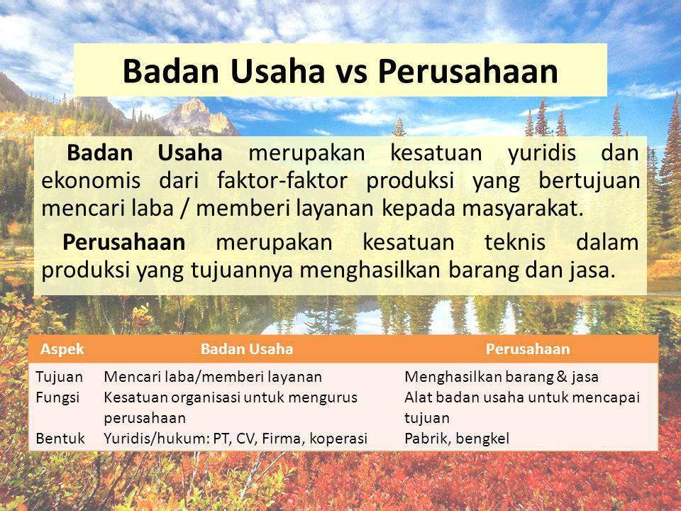 Badan Usaha vs Perusahaan Badan Usaha merupakan kesatuan yuridis dan ekonomis dari faktor-faktor produksi yang bertujuan mencari laba / memberi layana