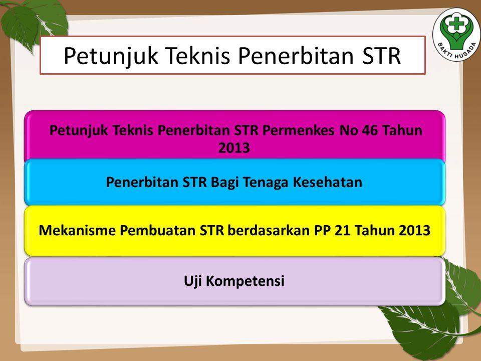 Petunjuk Teknis Penerbitan STR Permenkes No 46 Tahun 2013 Penerbitan STR Bagi Tenaga Kesehatan Mekanisme Pembuatan STR berdasarkan PP 21 Tahun 2013 Uj