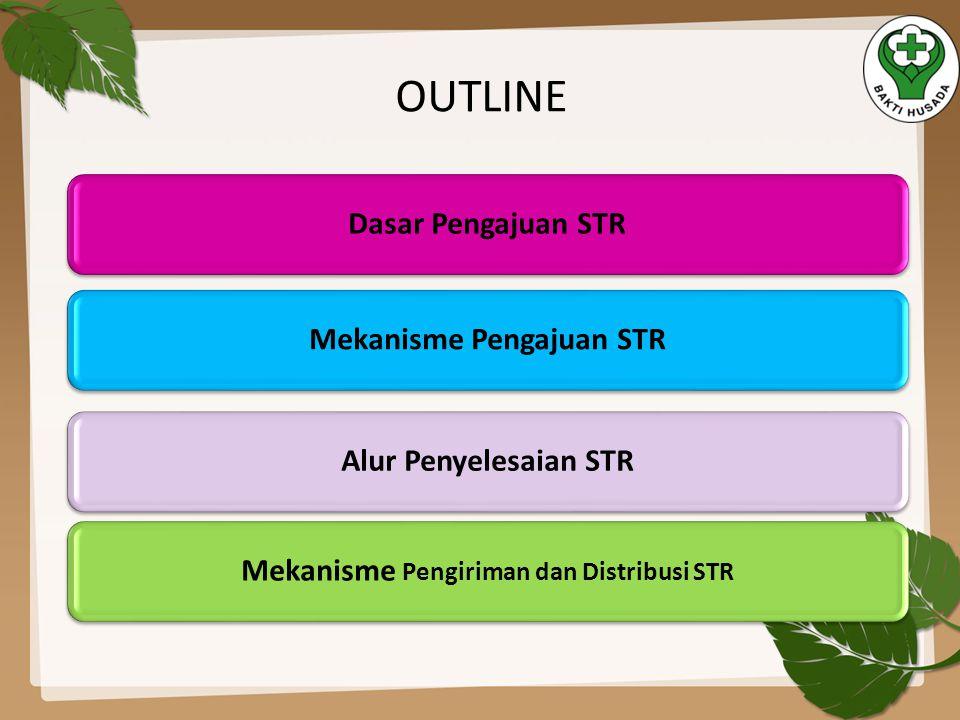OUTLINE Dasar Pengajuan STRMekanisme Pengajuan STRAlur Penyelesaian STRMekanisme Pengiriman dan Distribusi STR