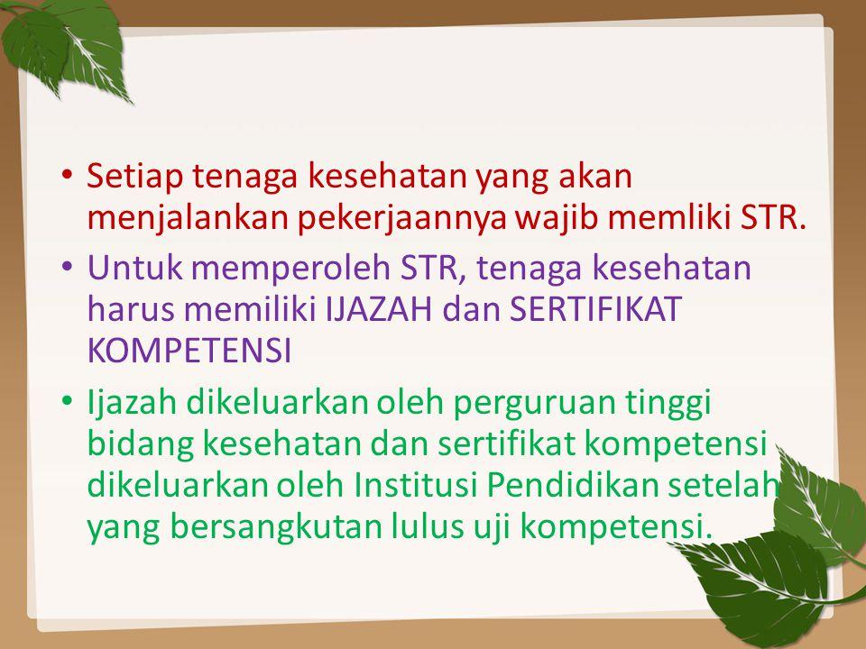 MAJELIS TENAGA KESEHATAN INDONESIA DASAR DAN PENGAJUAN STR MEKANISME PENGAJUAN STR DASAR 1.UU No.
