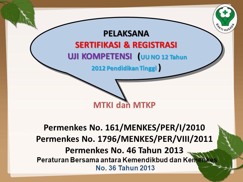 PELAKSANA SERTIFIKASI & REGISTRASI UJI KOMPETENSI ( UU NO 12 Tahun 2012 Pendidikan Tinggi ) UJI KOMPETENSI ( UU NO 12 Tahun 2012 Pendidikan Tinggi )PE