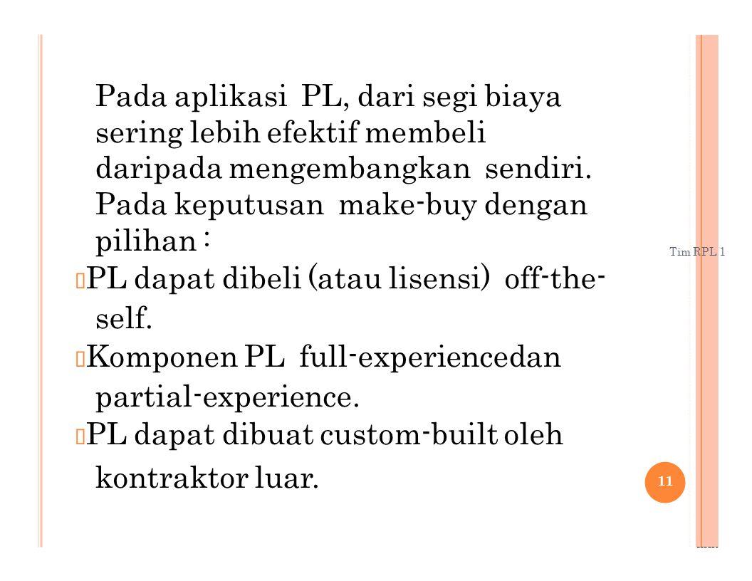 Tim RPL 1 Pada aplikasi PL, dari segi biaya sering lebih efektif membeli daripada mengembangkan sendiri. Pada keputusan make-buy dengan pilihan : PL d