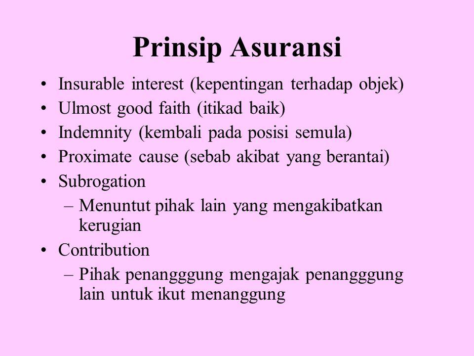 Prinsip Asuransi •Insurable interest (kepentingan terhadap objek) •Ulmost good faith (itikad baik) •Indemnity (kembali pada posisi semula) •Proximate
