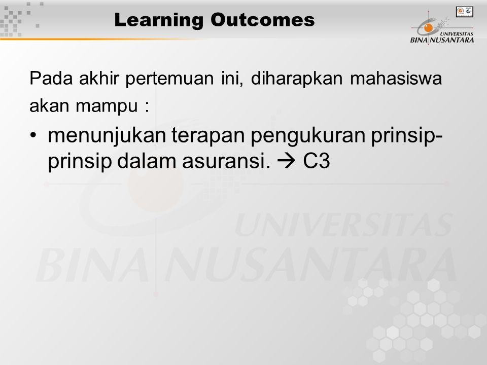 Learning Outcomes Pada akhir pertemuan ini, diharapkan mahasiswa akan mampu : •menunjukan terapan pengukuran prinsip- prinsip dalam asuransi.  C3