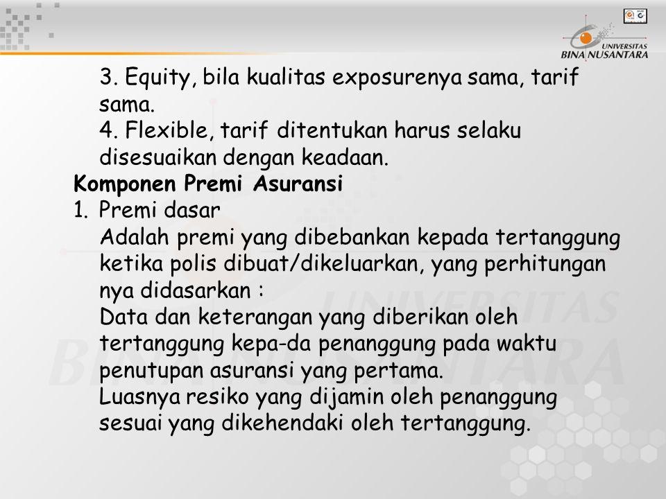 3. Equity, bila kualitas exposurenya sama, tarif sama. 4. Flexible, tarif ditentukan harus selaku disesuaikan dengan keadaan. Komponen Premi Asuransi