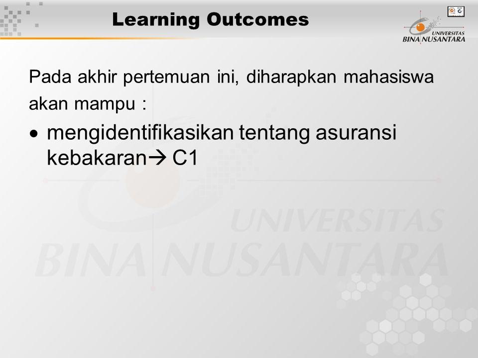 Learning Outcomes Pada akhir pertemuan ini, diharapkan mahasiswa akan mampu :  mengidentifikasikan tentang asuransi kebakaran  C1