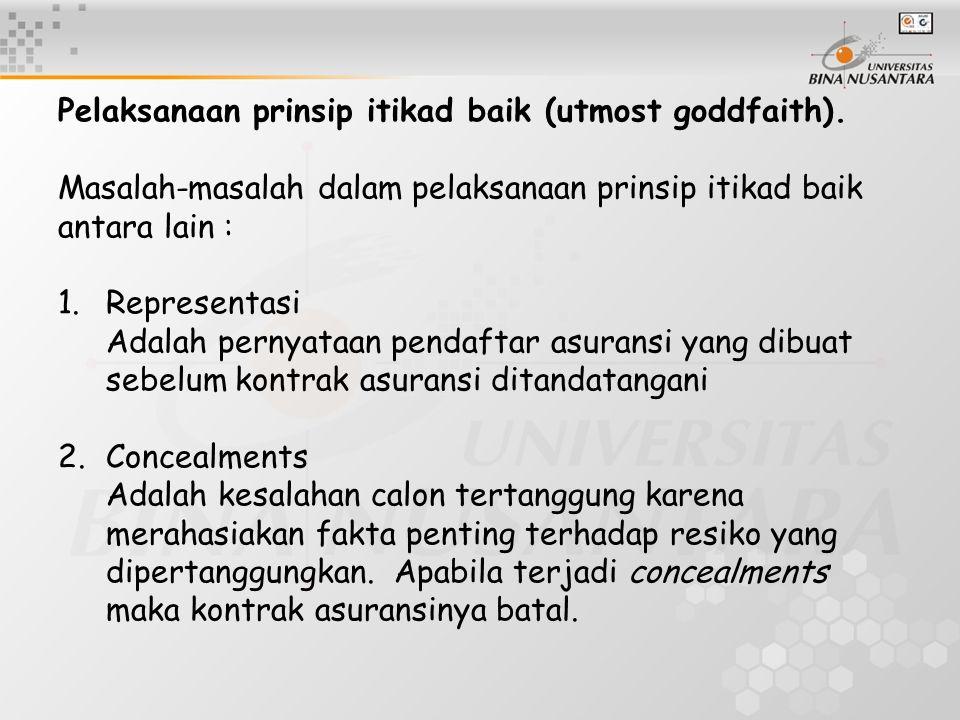 Pelaksanaan prinsip itikad baik (utmost goddfaith).