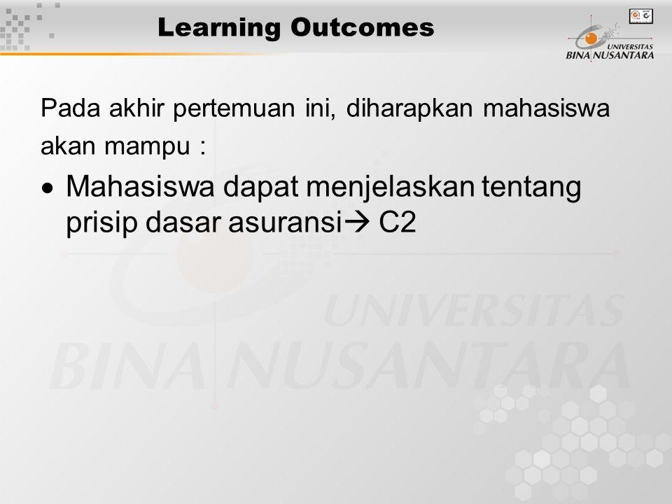 Learning Outcomes Pada akhir pertemuan ini, diharapkan mahasiswa akan mampu :  Mahasiswa dapat menjelaskan tentang prisip dasar asuransi  C2