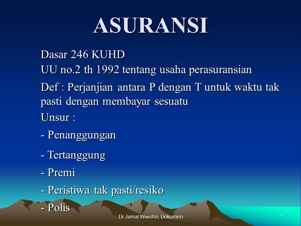 Dr Jamal Wiwoho, Dokumen12 Asuransi &Perjudian AsuransiPerjudian 1.