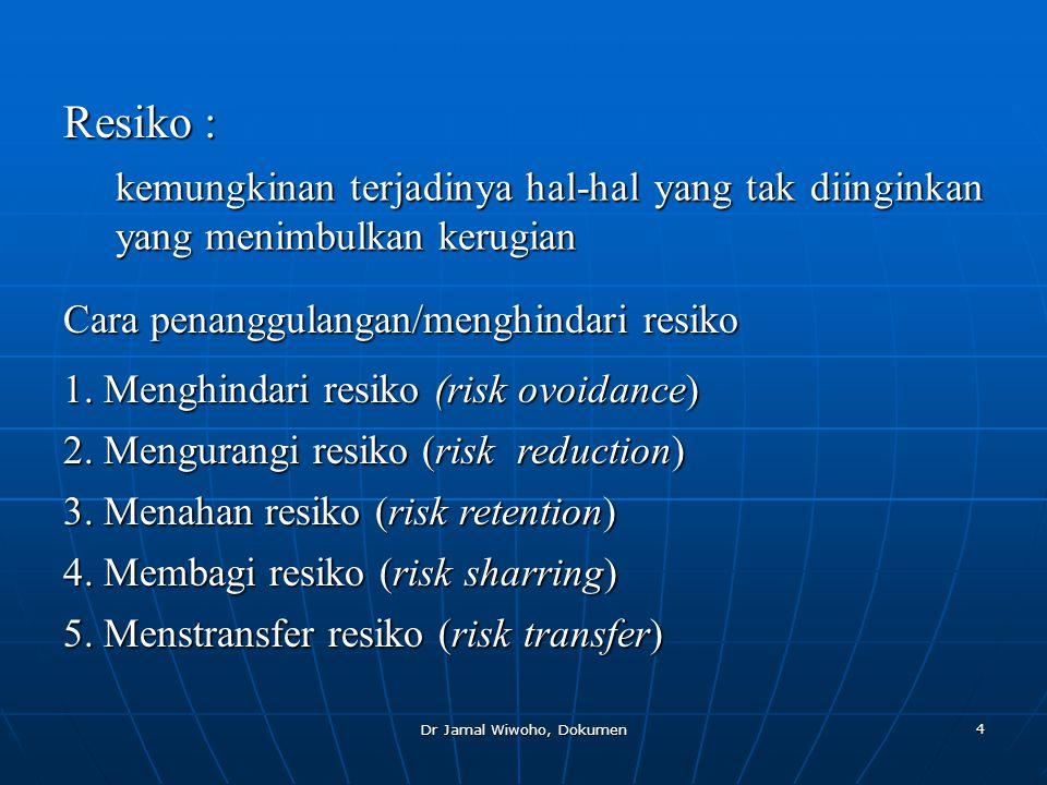 Dr Jamal Wiwoho, Dokumen 5 Klasifikasi Perusahaan Asuransi •Asuransi umum (kerugian)  hak milik, kebakaran dll.