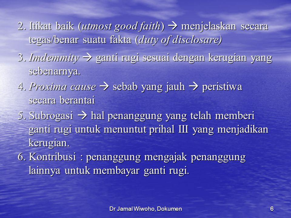Dr Jamal Wiwoho, Dokumen6 2. Itikat baik (utmost good faith)  menjelaskan secara tegas/benar suatu fakta (duty of disclosare) 3. Imdemmity  ganti ru