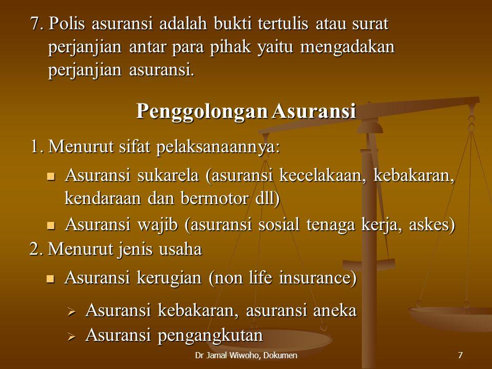 Dr Jamal Wiwoho, Dokumen8  Asuransi jiwa (life insurance)  Ordinary life insurance, group life insurance, industrial life insurance 3.Reasuransi atau reinsurance Pertanggungjawaban ulang/pertanggungan yang dipertanggungkan/asuransi dari asuransi  Penanggung (reasurator)  Tertanggung (ceding company) Fungsi Rea Asuransi  Meningkatkan kapasitas akseptasi  Alat penyebaran resiko