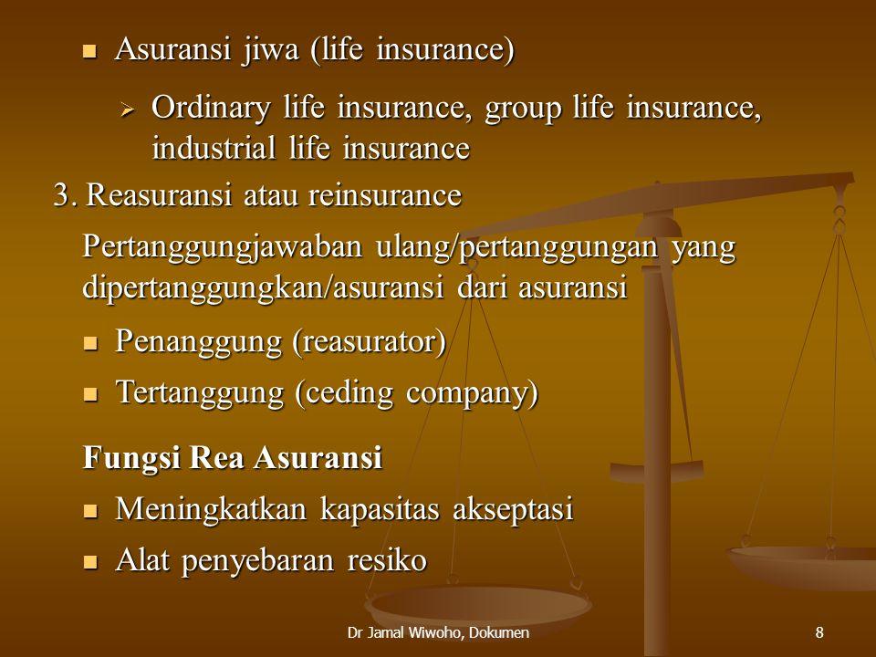 Dr Jamal Wiwoho, Dokumen8  Asuransi jiwa (life insurance)  Ordinary life insurance, group life insurance, industrial life insurance 3.Reasuransi ata