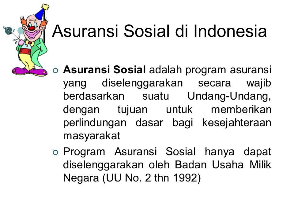 Asuransi Sosial di Indonesia Asuransi Sosial adalah program asuransi yang diselenggarakan secara wajib berdasarkan suatu Undang-Undang, dengan tujuan untuk memberikan perlindungan dasar bagi kesejahteraan masyarakat Program Asuransi Sosial hanya dapat diselenggarakan oleh Badan Usaha Milik Negara (UU No.