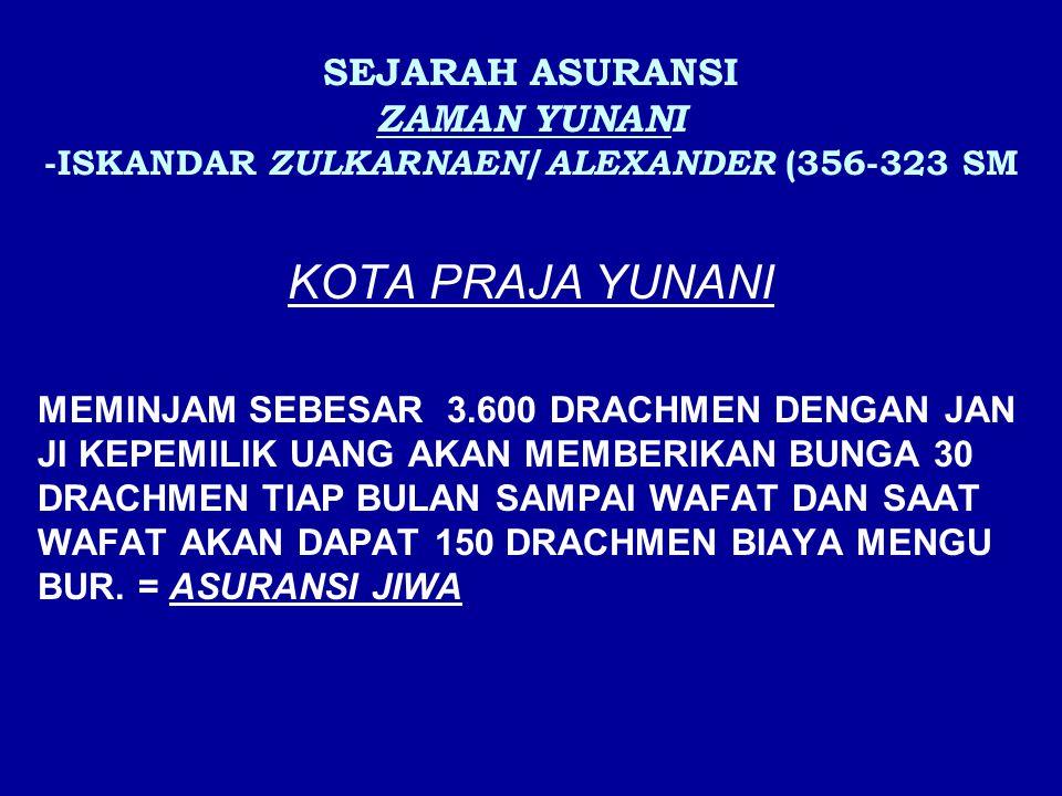 SEJARAH ASURANSI ZAMAN YUNANI -ISKANDAR ZULKARNAEN / ALEXANDER (356-323 SM KOTA PRAJA YUNANI MEMINJAM SEBESAR 3.600 DRACHMEN DENGAN JAN JI KEPEMILIK U