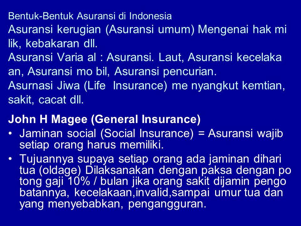 Bentuk-Bentuk Asuransi di Indonesia Asuransi kerugian (Asuransi umum) Mengenai hak mi lik, kebakaran dll. Asuransi Varia al : Asuransi. Laut, Asuransi