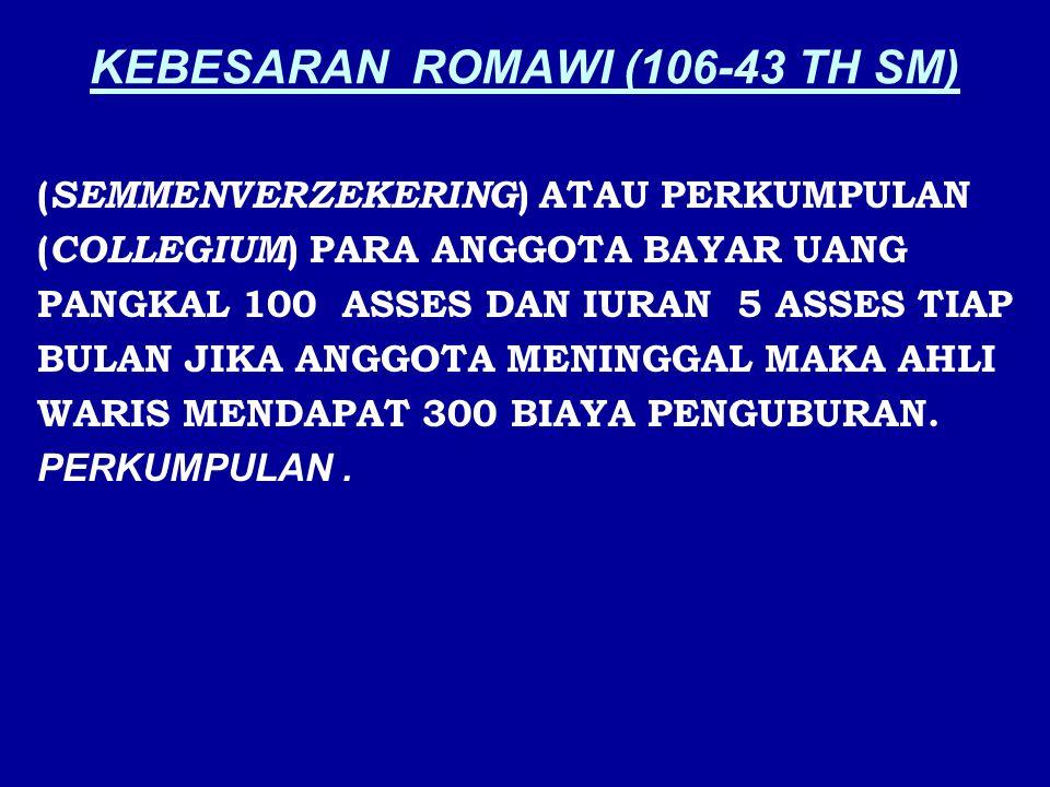 KEBESARAN ROMAWI (106-43 TH SM) ( SEMMENVERZEKERING ) ATAU PERKUMPULAN ( COLLEGIUM ) PARA ANGGOTA BAYAR UANG PANGKAL 100 ASSES DAN IURAN 5 ASSES TIAP