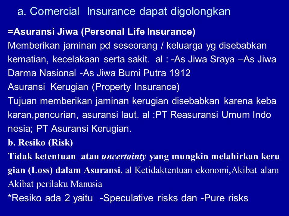 a. Comercial Insurance dapat digolongkan =Asuransi Jiwa (Personal Life Insurance) Memberikan jaminan pd seseorang / keluarga yg disebabkan kematian, k