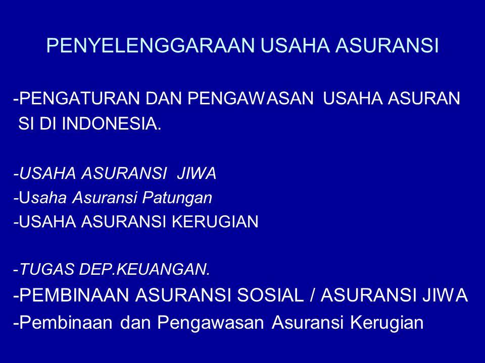 PENYELENGGARAAN USAHA ASURANSI -PENGATURAN DAN PENGAWASAN USAHA ASURAN SI DI INDONESIA. -USAHA ASURANSI JIWA -Usaha Asuransi Patungan -USAHA ASURANSI