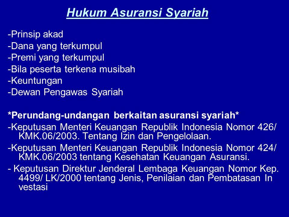 Hukum Asuransi Syariah -Prinsip akad -Dana yang terkumpul -Premi yang terkumpul -Bila peserta terkena musibah -Keuntungan -Dewan Pengawas Syariah *Per