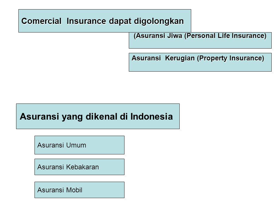 Asuransi yang dikenal di Indonesia Asuransi Umum Asuransi Kebakaran Asuransi Mobil Comercial Insurance dapat digolongkan (Asuransi Jiwa (Personal Life