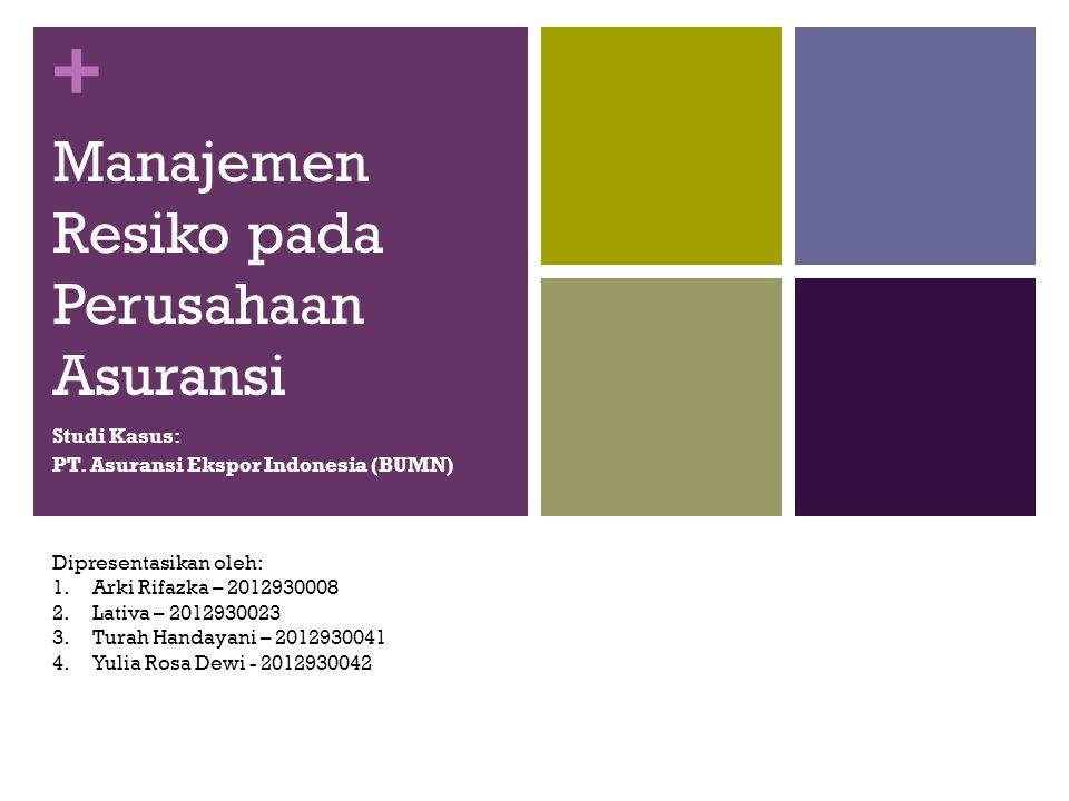 + Manajemen Resiko pada Perusahaan Asuransi Studi Kasus: PT. Asuransi Ekspor Indonesia (BUMN) Dipresentasikan oleh: 1.Arki Rifazka – 2012930008 2.Lati